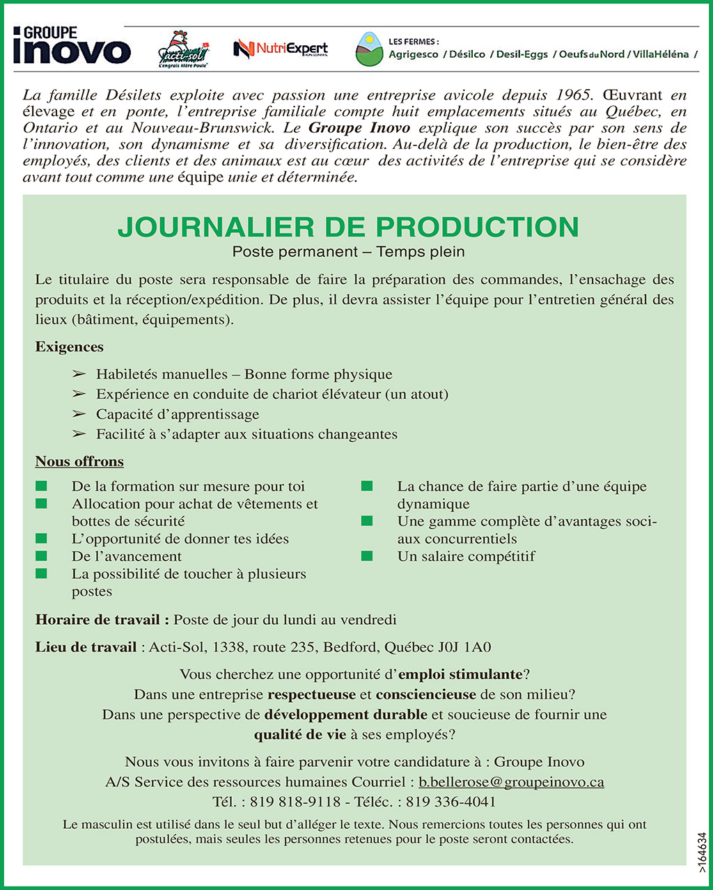 JOURNALIER DE PRODUCTION