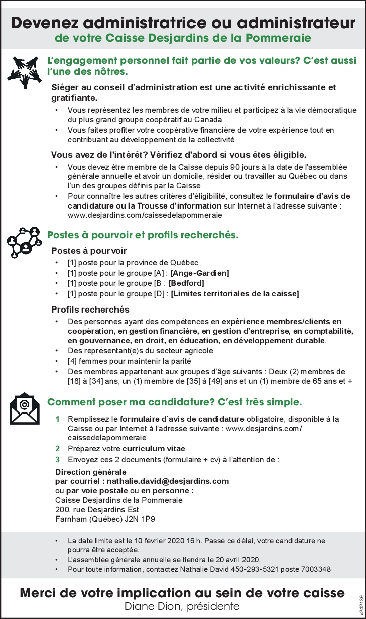 Administratrice ou administrateur
